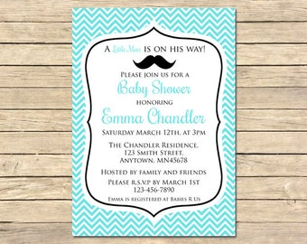 Little Man Mustache Printable Baby Shower Invitation, Little Man Shower Invite, Little Man Mustache Baby Shower, DIY Invite, Download, 008-A