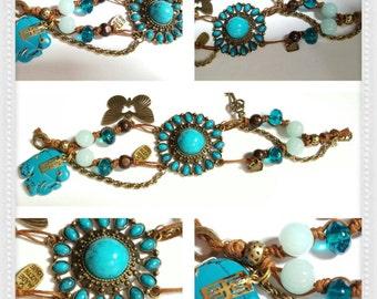 Cord  Turquoise charm bracelet