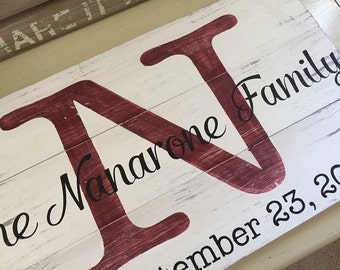 "Family Name Sign | The Perfect Housewarming, Engagement, Wedding, Anniversary, or ""Just Because"" Gift"