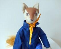 Fabric Fox, Fox Art Doll, Textile Fox, Stuffed Animal, Woodland Animal, Mr Fox, Cloth Fox, Handmade Animal, Brown Fox Wearing Jacket