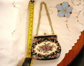 Purse - Vintage - Tapestry Design - Handmade in Japan - 1950's