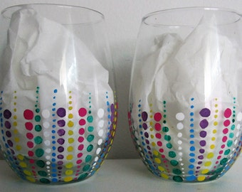 Hand-Painted Stemless Wine Glasses, featuring polka dot pattern, set of 2