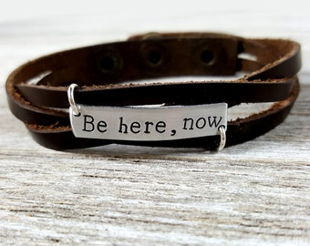 Be here, now-Braided Leather Bracelet
