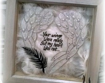 Angel wings, feather filled, memorial frame