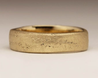 Cast in your own sand, Flat Solid 9ct Yellow Gold Ring, Unique Ring, Natural Texture, Smooth Matte Ring, 6mm Mens Ring, Personalized Jewelry