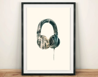 Double Exposure Headphones Printable poster Music art Urban print Home art poster DJ poster Headphones Beats Music Lover  Wall Art Modern