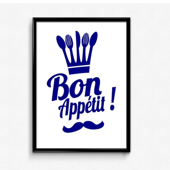 Bon Appetit Printable Art Dining Room Wall Poster Kitchen