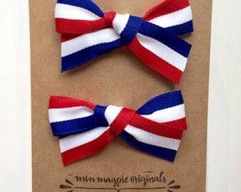 Red, white & blue ribbon set