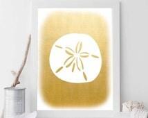 Gold Sand Dollar, Sand Dollar, Sand Dollar Print, Sand Dollar Art, Beach Printable, Beach Art, Nautical Decor, Nautical Wedding, Prints
