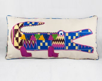 Pink Crocodie Cushion - 60 x 30cm