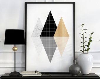 Black and white art etsy for Decoration murale scandinave