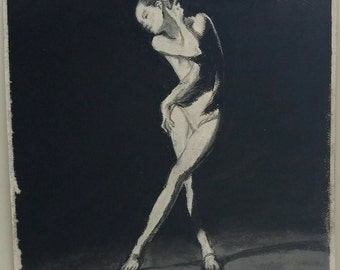 "Charcoal pose drawing 8""x8"" original"