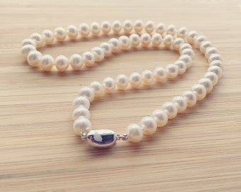 "Classic White Genuine Cultured Freshwater Pearl 18"" Necklace, Strand of Pearls, Pearl Necklace, Bridal Necklace"