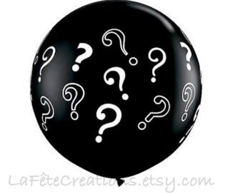 "Black Question Mark Gender Reveal Balloon Big Round 36"" Black Latex Balloon Question Mark Baby Shower Girl or Boy?"