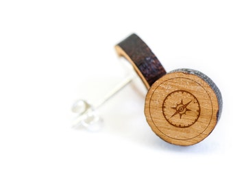 Compass Dial Stud Earring, Wooden Earring, Gift For Him or Her, Wedding Gifts, Groomsman Gifts, Bridesmaid Gifts, and Personalized