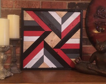 Barnwood Quilt Red and Black Reclaimed Wood Wall Art