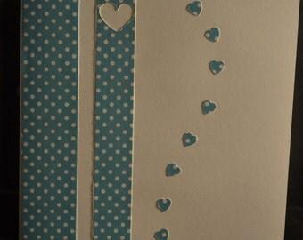 Blue Heart Card. Happy in Love