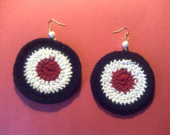 Hand made crocheted Black-White-Red Circle Earring's!