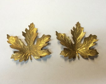 Brass Stamping - Brass Maple Leaf, Large - Set of 2