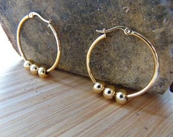 Bead - 40mm 18K Gold Plated Hoop Earrings