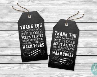 DIY Printable Tags -  Thank You Warm Home Tag | Chalkboard Shower Housewarming Birthday Baby Party Invitation Tags Wedding Giveaway Event