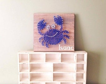 Crab string art sign, beach coastal sign, beach farmhouse decor, nautical nursery sign, water theme nursery, rustic nursery, eco-friendly