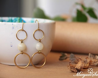 dangle brass and stone earrings