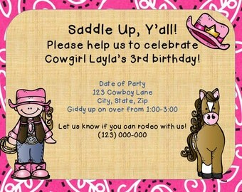 Cowgirl Party Invitation-Printable PDF