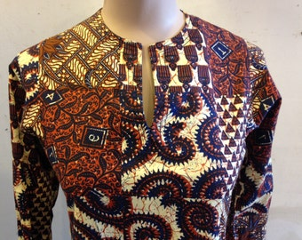 1960s Beautiful Peck and Peck Batik Print Dress