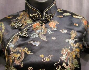 Lovely Long Black Brocade Satin Dress Embroidered Dragon Mandarin Collar