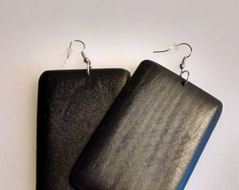 Boho Square Wooden Earrings in Black