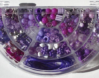 Bead Kit Purple Acrylic Beads Hinged Half Moon Shaped Plastic Box Stretch Cord