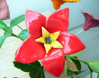 Narcisse red ceramic flower to decorate his house