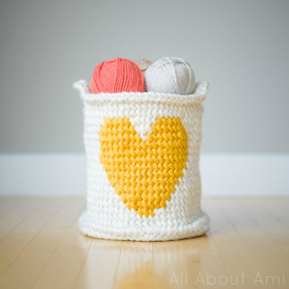 Crochet Heart Basket Pattern