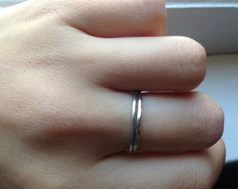 Hammered sterling silver stackable rings