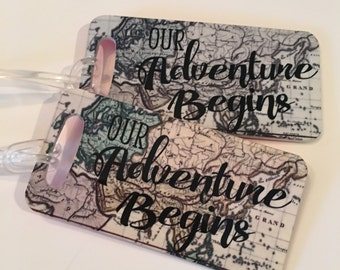 Our Adventure - Map Travel Tags - Luggage Traveling Tags