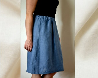 Blue linen skirt, linen summer skirts, mid length skirts, women skirt,  linen clothes, summer skirts, women linen skirt, skirt