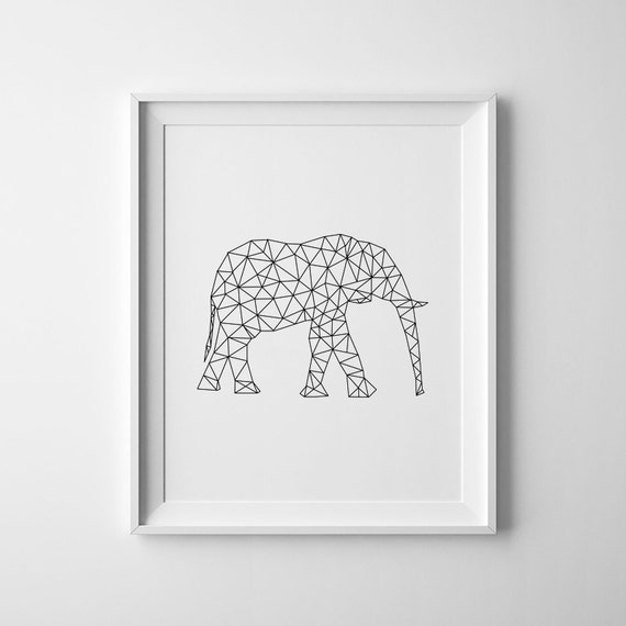 Large wall art elephant minimal print large by evolgallery for Minimal art wall