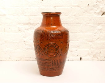 Vintage Floor Vase XXL Vase by BAY Keramik West Germany WGP Form 550 in Orange