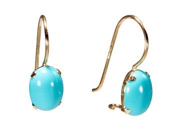 14k gold earrings, turquoise earrings, turquoise jewelry, gold drop earrings, gold earrings, solid gold earrings, Turquoise stone,