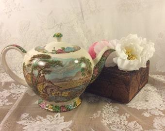 The Old Mill teapot, John Sadler English teapot, useful mill scene tea pot, cottage chic, country,OliviaRoseVintageCo, shabby garden chic