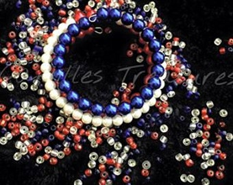 Red, White, and Blue memory wire bracelet