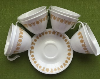 Vintage Corelle Butterfly Gold Tea Cup Set with Saucers/Creamer