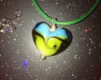 Heart shaped glass necklace