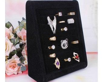 Black velvet ring stand
