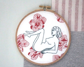 """Geometric Naked Woman with Hibiscus,  6"""" Embroidery Hoop,"""