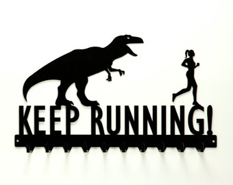Free USA Shipping Keep Running T-Rex and Running Woman Medals Rack