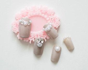 3D Pearl and Crystal Cluster Japanese Nails, Bridal Nails, Wedding Nails, Press on nails, Bling nail, Glue On Nails, Gel Nails