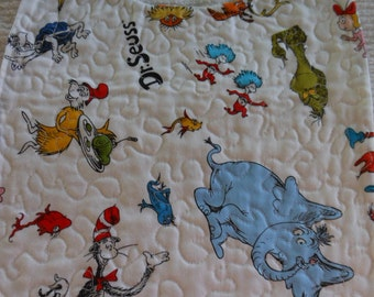 Dr. Seuss pattern quilted reversible baby bib