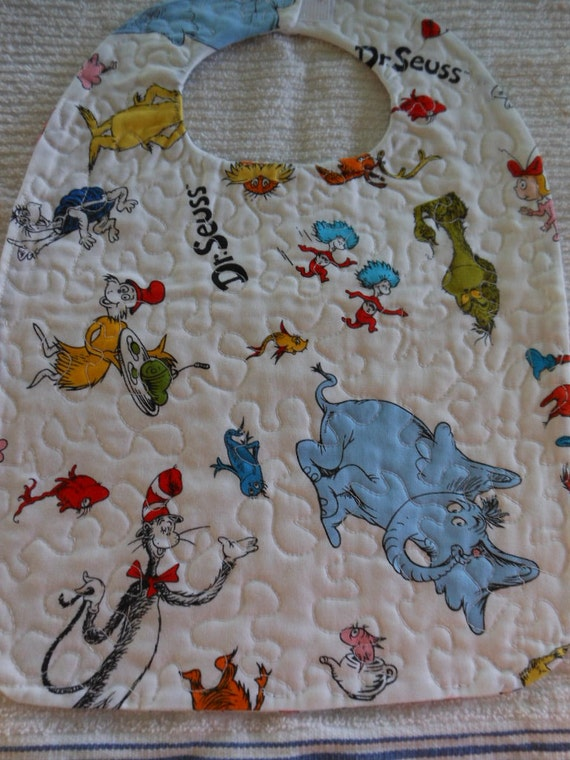 Free Patterns For Quilted Baby Bibs : Dr. Seuss Pattern Quilted Reversible Baby Bib